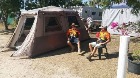 The tents sleep 4 persons at Karumba Point Sunset Caravan Park